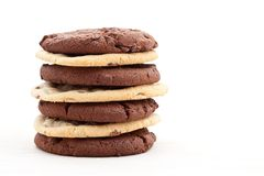 Milk and dark chocolate chip cookies Royalty Free Stock Images