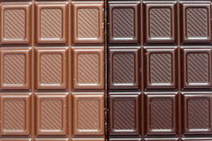Milk and dark chocolate. Close-up Stock Photo