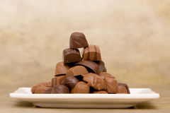 Milk and dark chocolates Stock Photos