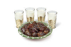 Milk and dates for Iftar meal Royalty Free Stock Photos