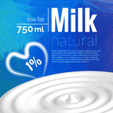 Milk design, Milk wave, blue triangle background, heart, love milk vector illustration Royalty Free Stock Image