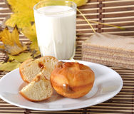 Milk and donuts Royalty Free Stock Image