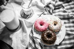 Milk and donuts Royalty Free Stock Photos