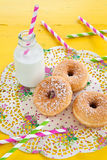 Milk and donuts Royalty Free Stock Photography