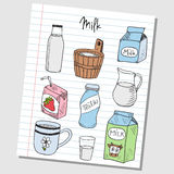 Milk doodles - lined paper Stock Photo