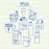 Milk doodles - squared paper Royalty Free Stock Images