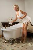 Milk dress pin-up Stock Images