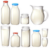 Milk and drink botles on white Stock Image