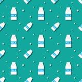 Milk Drink Carton Bottle Seamless Pattern Stock Photo
