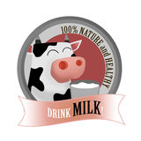 Milk drink label. Nature and healthy drink milk label with cartoon funny cow holding a cup of milk Stock Photos
