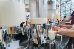 Milk for drink in lunch buffet Royalty Free Stock Photos