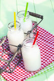 Milk Drinks. Fresh Milk Drinks in a basket outdoors Royalty Free Stock Photos