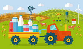 Milk Eco Farm Concept Vector in Flat Style Design. Milk eco farm concept vector. Flat design. tractor with trailer fill dairy products, traditional farm Royalty Free Stock Images