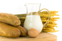 Milk, egg, bread Stock Photos