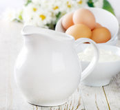 Milk and eggs Stock Photos