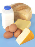 Milk Eggs and Bread Stock Photography