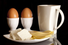 Milk, eggs and cheese Stock Image