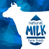 Milk emblem design on abstract polygon background Royalty Free Stock Images