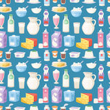 Milk everyday products food and milky dairy drinks vector seamless pattern background Royalty Free Stock Photos