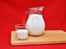 Milk in a ewer and a glass Royalty Free Stock Image