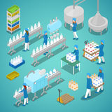 Milk Factory. Automated Production Line in Dairy Plant with Workers. Isometric flat 3d illustration Royalty Free Stock Images