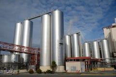 Milk factory. HOKITIKA, NEW ZEALAND, 27 JUNE, 2016: Storage silos await deliveries of raw milk at the Westland Milk Products factory in Hokitika, New Zealand Stock Image