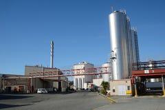 Milk factory. HOKITIKA, NEW ZEALAND, 27 JUNE, 2016: Storage silos at the Westland Milk Products factory  in Hokitika, New Zealand ready for deliveries of fresh Royalty Free Stock Photo