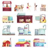 Milk Factory Icon Set. Milk production collection with isolated icons and flat images of factory facilities milk stores and people vector illustration stock illustration