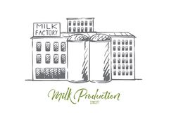 Milk, factory, plant, production, industry concept. Hand drawn isolated vector. stock illustration