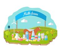 Milk Farm Concept Banner Vector Flat Design. Organic farming, traditional products. Clean naturally produced food. Dairy products with cow, field, fence Stock Photography