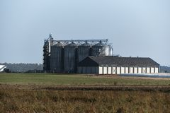 MIlk farm with storage silos contains cleaning chemicals royalty free stock photo