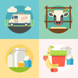 Milk flat banner set with manufacture of dairy Royalty Free Stock Image