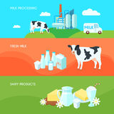 Milk flat banners set Stock Images