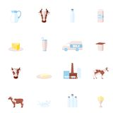 Milk flat icons set Stock Photos