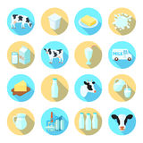 Milk flat icons set Royalty Free Stock Images