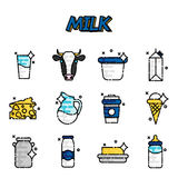Milk flat icons set Royalty Free Stock Image