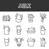 Milk flat icons set Stock Photos
