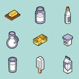 Milk flat outline isometric icons Royalty Free Stock Photos