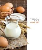 Milk, flour and eggs Stock Photo