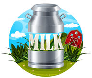 Milk food label with text Royalty Free Stock Photo