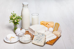 Milk and food on wooden background Stock Photography