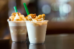 Milk freppe with moose and vipcream caramel Stock Photography
