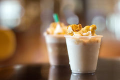 Milk freppe with moose and vipcream caramel Royalty Free Stock Photo