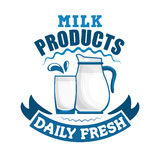 Milk daily fresh dairy sign Stock Photo
