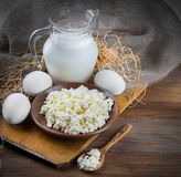 Milk and fresh eggs Royalty Free Stock Photo