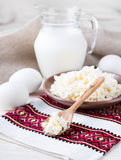 Milk and fresh eggs Stock Photography