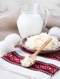 Milk and fresh eggs Stock Photography