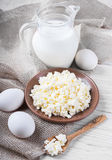 Milk and fresh eggs Stock Photos