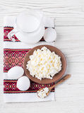 Milk and fresh eggs Royalty Free Stock Photography
