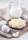 Milk and fresh eggs Royalty Free Stock Image